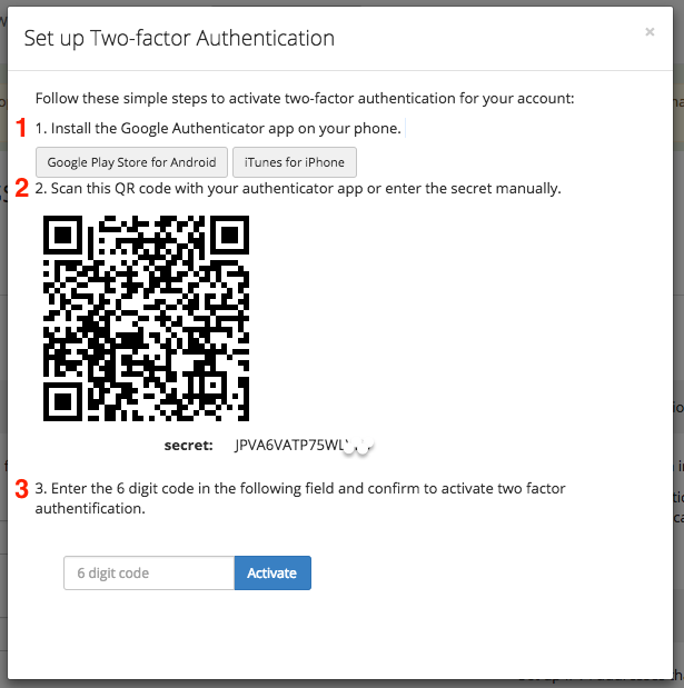 Set up 2 Factor Authentication