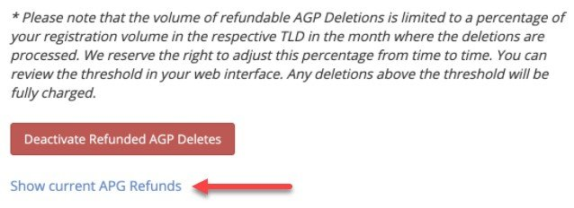 Show current AGP Refunds