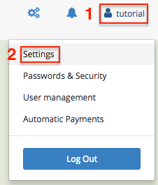 User menu > Settings